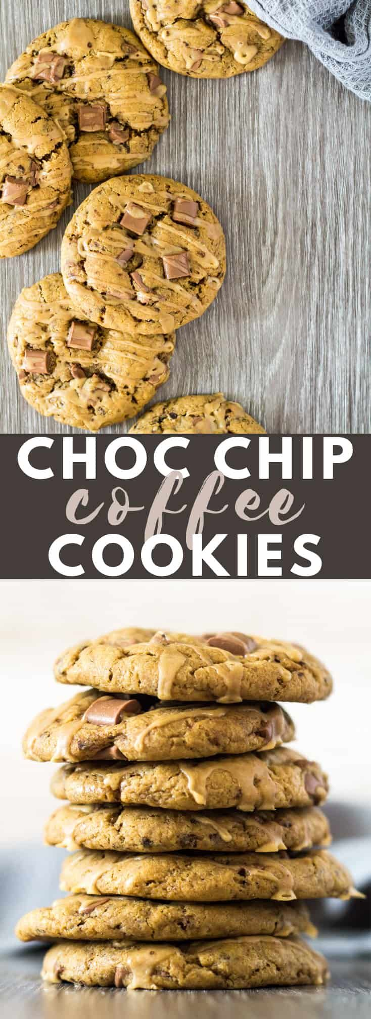 Chocolate Chip Coffee Cookies - Deliciously soft, thick and chewy coffee-infused chocolate chip cookies toppedwith a coffee drizzle!