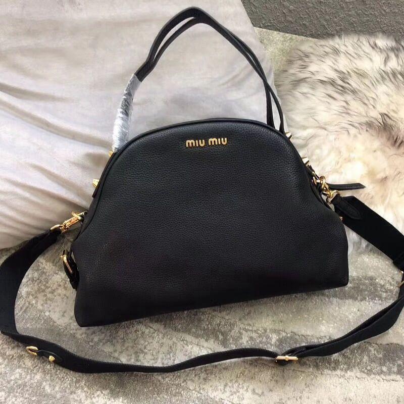 3714ce09e2a8 Miu Miu Phenix Calf Leather Large Shoulder Bag 5BB036 Black 2018 ...