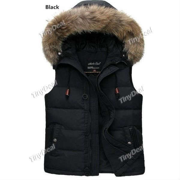 Autumn Winter Casual Down Vest with Fur Hoodie for Boy Men DCD-352659