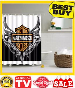 Bathroom Vanities Curtain Harley Davidson Logo Pattern Waterproof