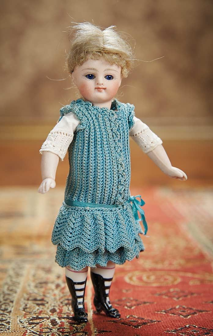 German All-Bisque Miniature Doll by Kestner with Original Costume, circa 1880
