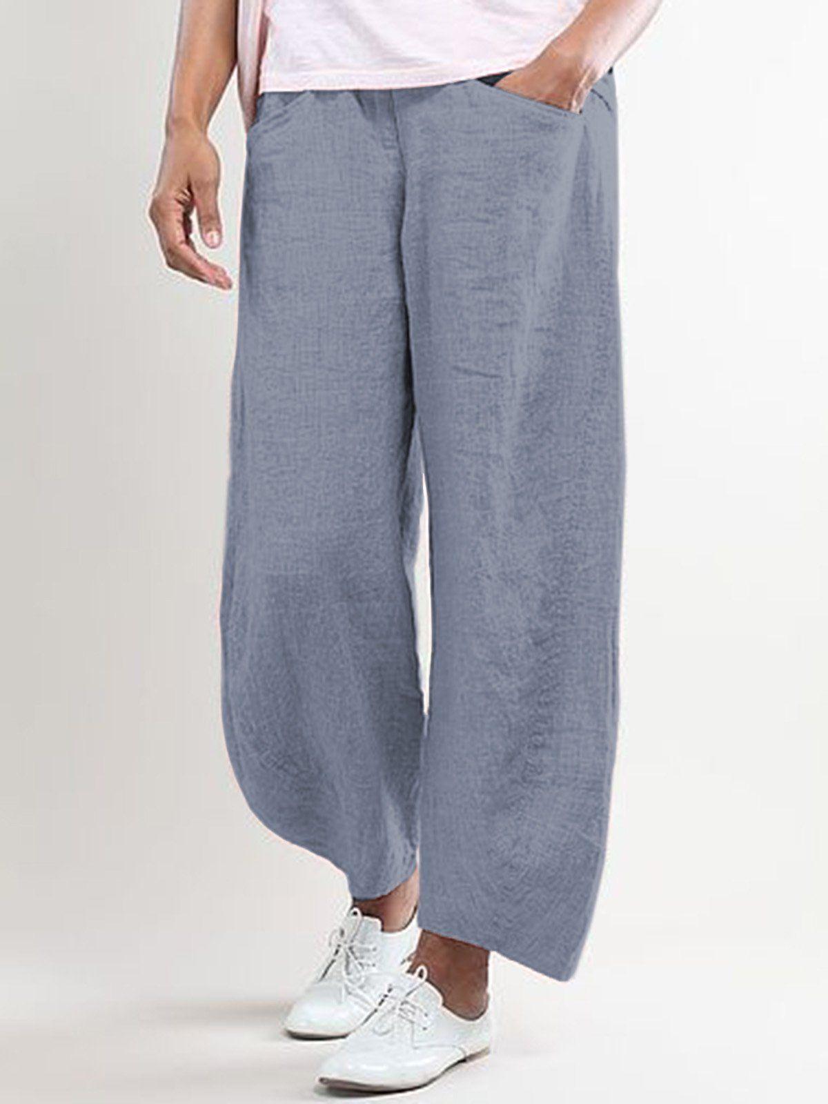 PENGY Pants Trouser Woman Striped Harem Pants Fashion Loose Cotton Linen Pants Casual Pocket Pants Loose Cotton Linen