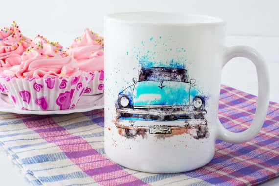 Blue Classic Car Ceramic Coffee Mug, The perfect gift for a car enthusiast, Great husband birthday gift or gift for boyfriend