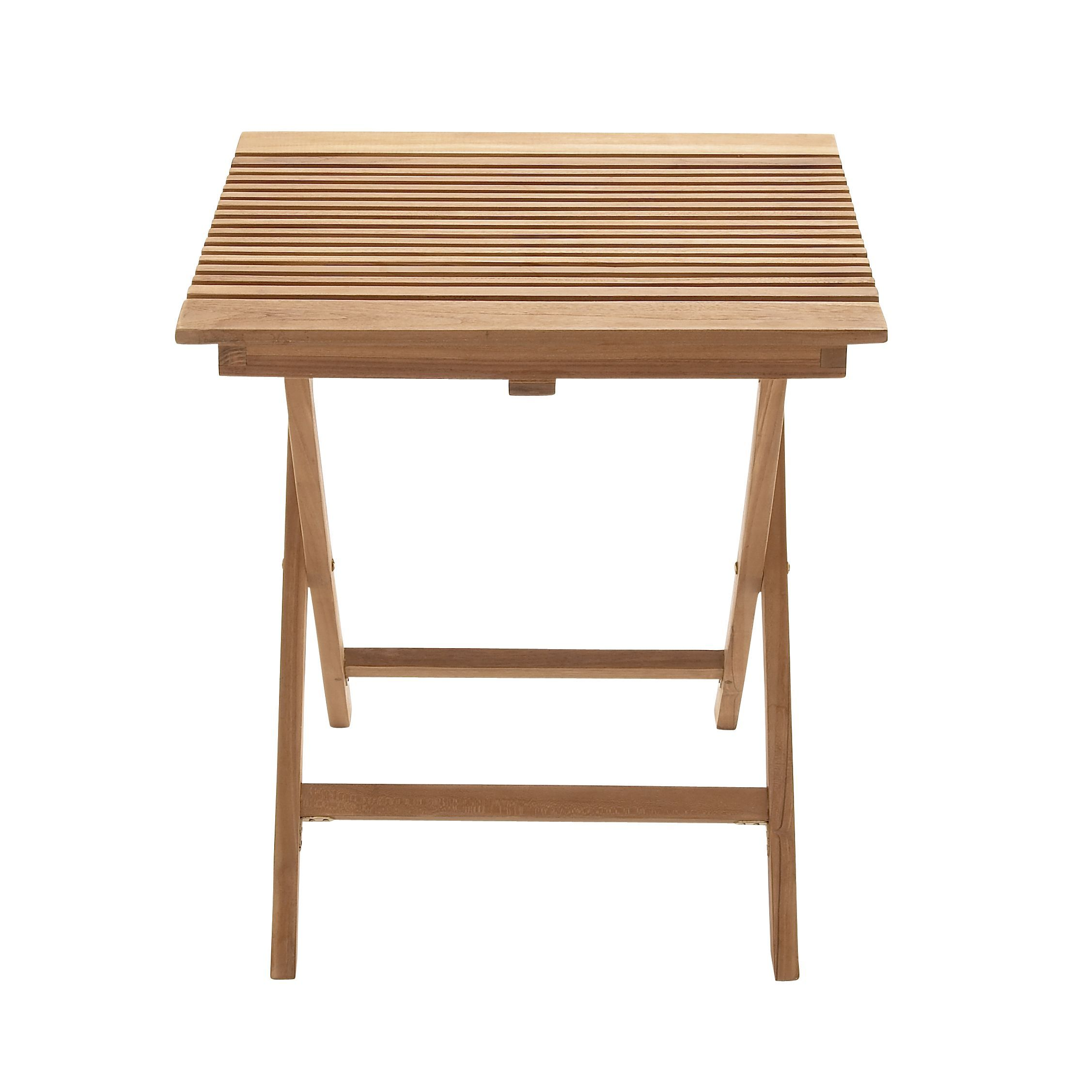 Outdoor square teak folding table see description brown patio