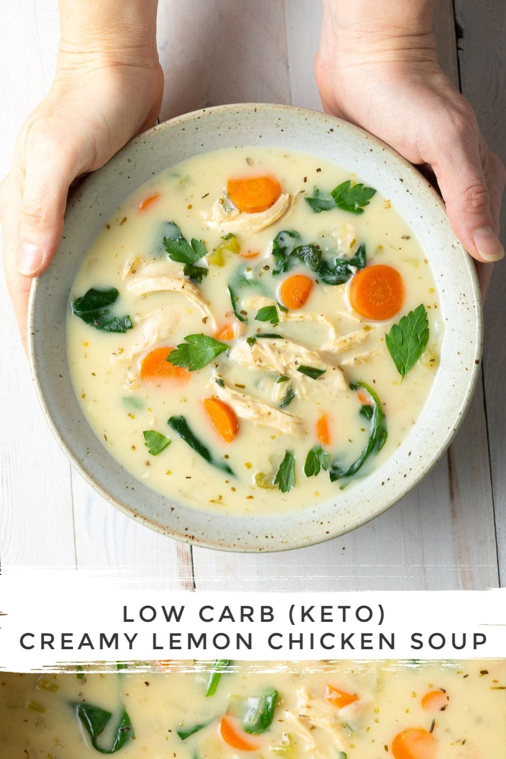 Creamy Lemon Chicken Soup with Spinach: A FABULOUS Keto Chicken Soup Recipe with Lemon, Parmesan, a