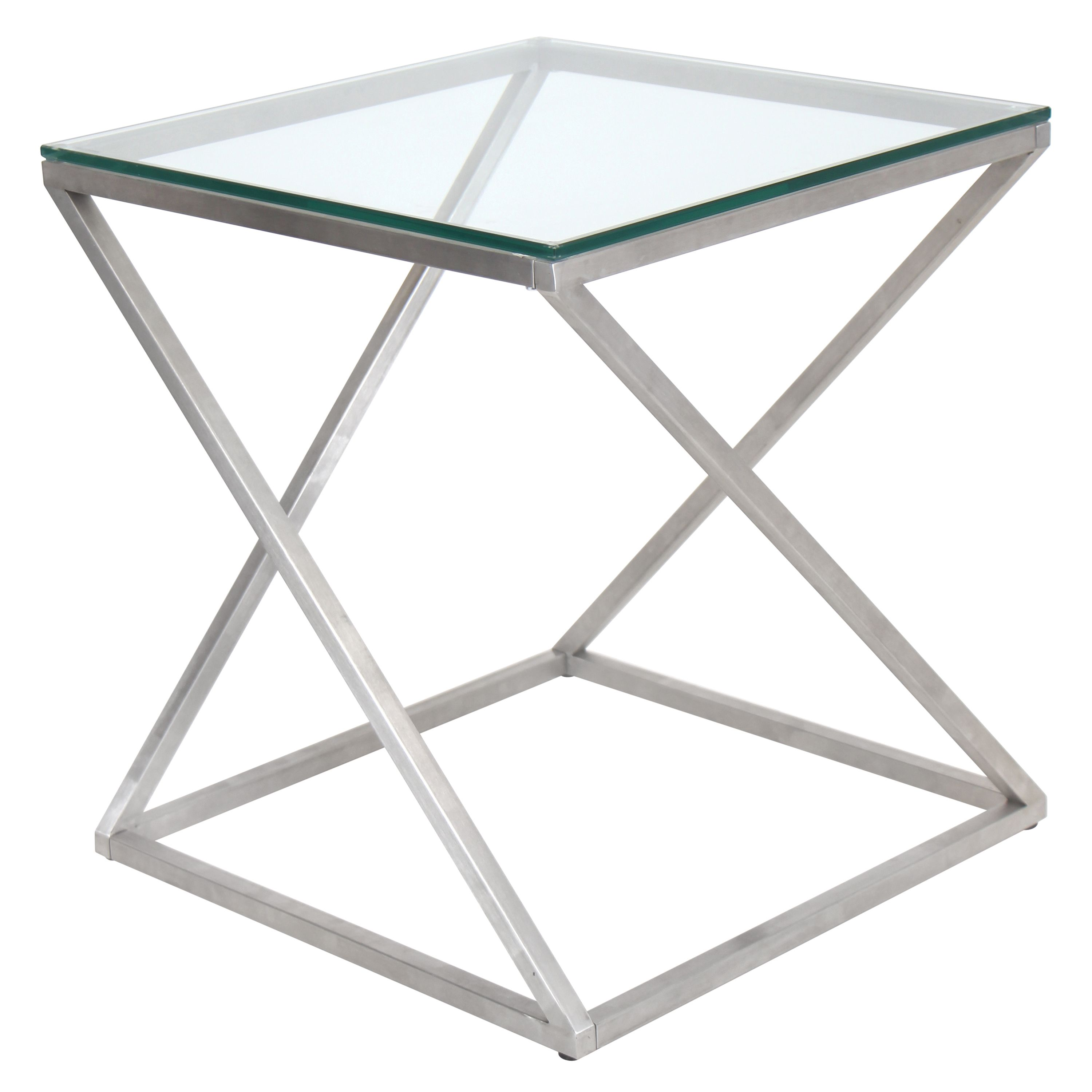 4Z Side Table An Intricately Twisted Chrome Base Supports An Elegant Glass  End Table.