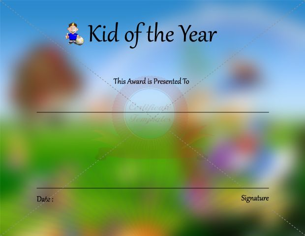 Kid Of The Year Certificate Template  Kids Certificate Templates