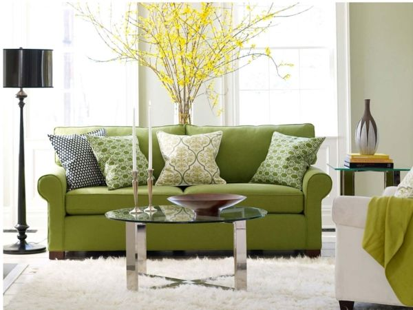 Nice Living Room Ideas With Green Furniture Sofa And Pillows Round Glass  Table Yellow Flower Behind Sofa Black Drum Lamp Inside White Stained Wall  Carpet ...