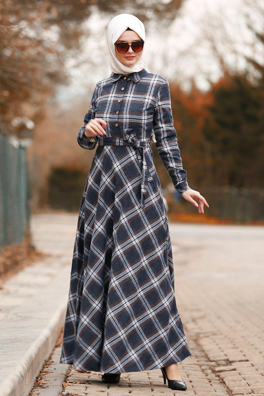 Nayla Collection Tesettur Ekoseli Elbise Modelleri Moda Tesettur Giyim The Dress Musluman Modasi Elbise