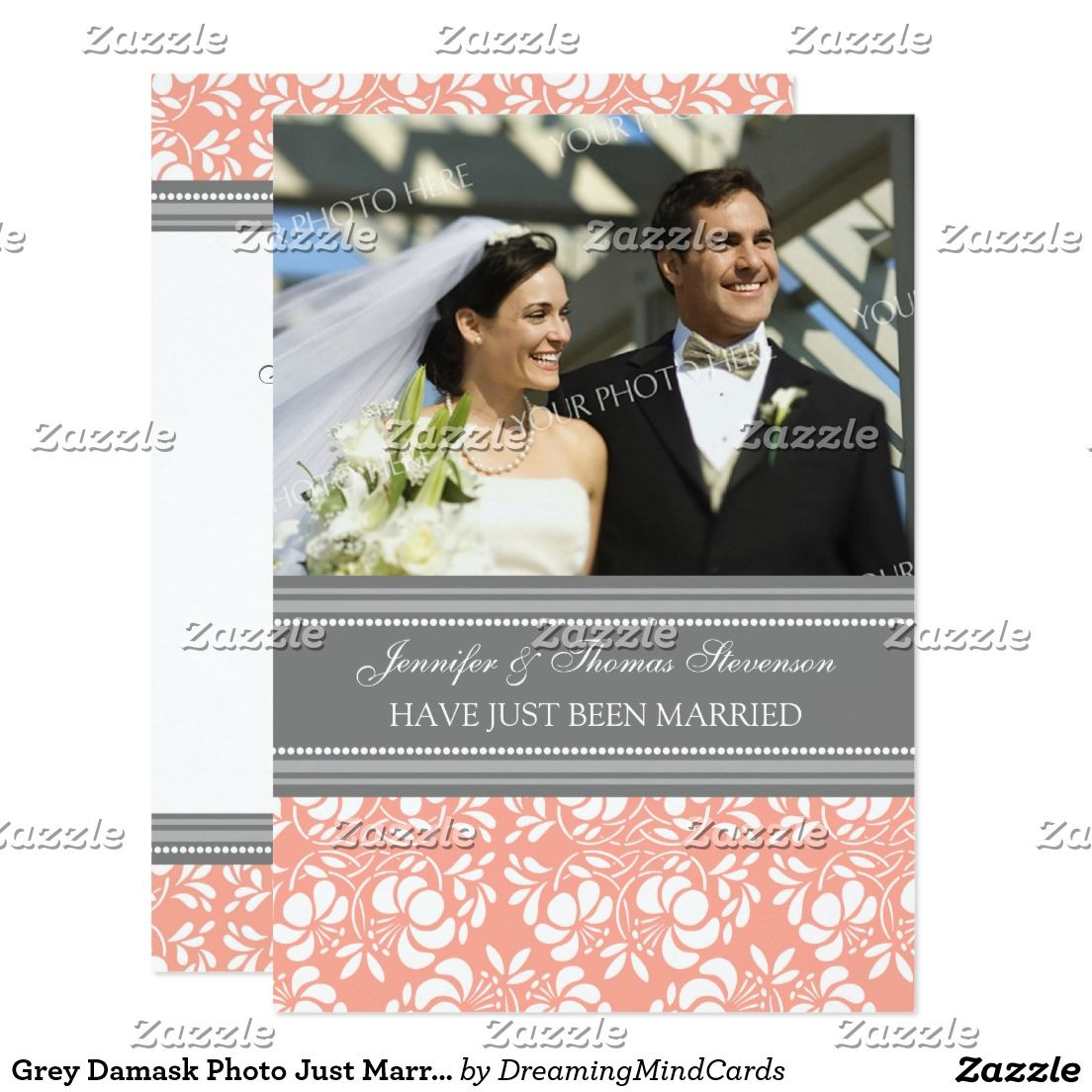 Grey Damask Photo Just Married Announcement Cards