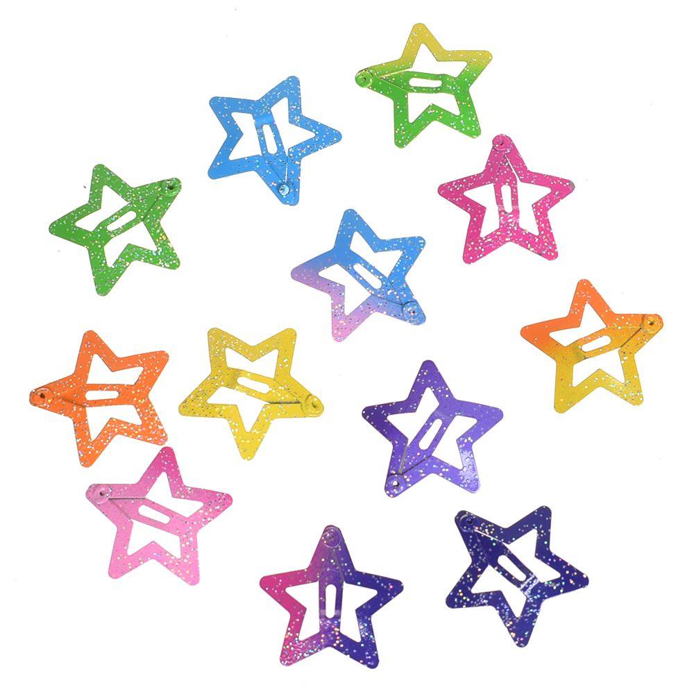 4 pcs Metal Heart-shaped Glitter Children Hairpins Headwear Hair Clips BB Clips