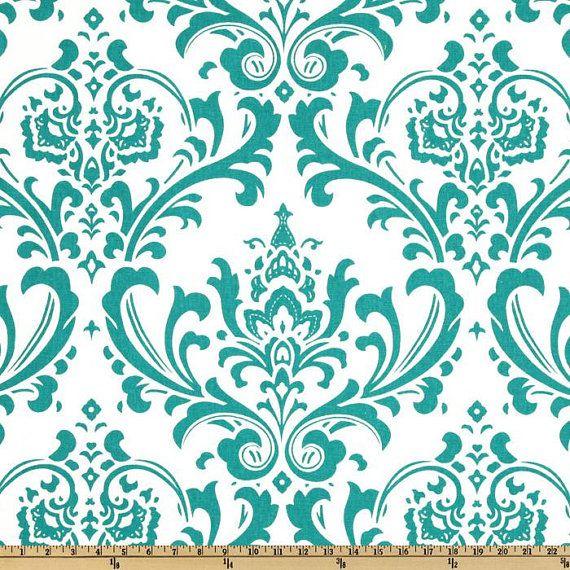 Blue Valance. Turquoise Valance. Turquoise Damask by GallaryVerde ...