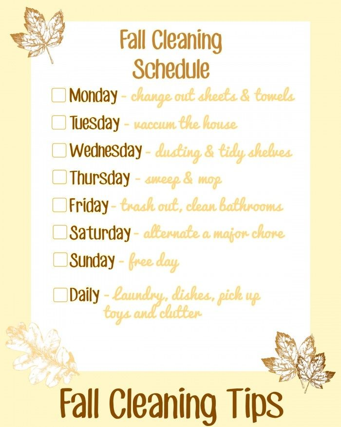 Fall Cleaning Tips- printable checklist and some great fall cleaning tips to…