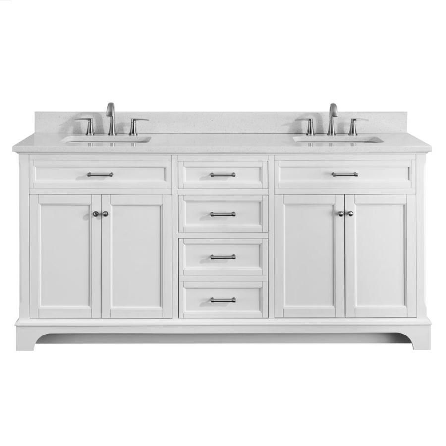 Scott Living Roveland White Double Sink Vanity With Terrazzo