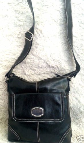 New-Franco-Sarto-Black-w-White-Stitching-Faux-Leather-Crossbody-Shoulder-Bag