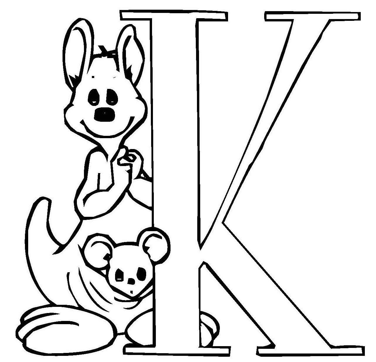 Ausmalbild Buchstaben lernen Kostenlose Malvorlage Niedliche Schrift K kostenlos ausdrucken