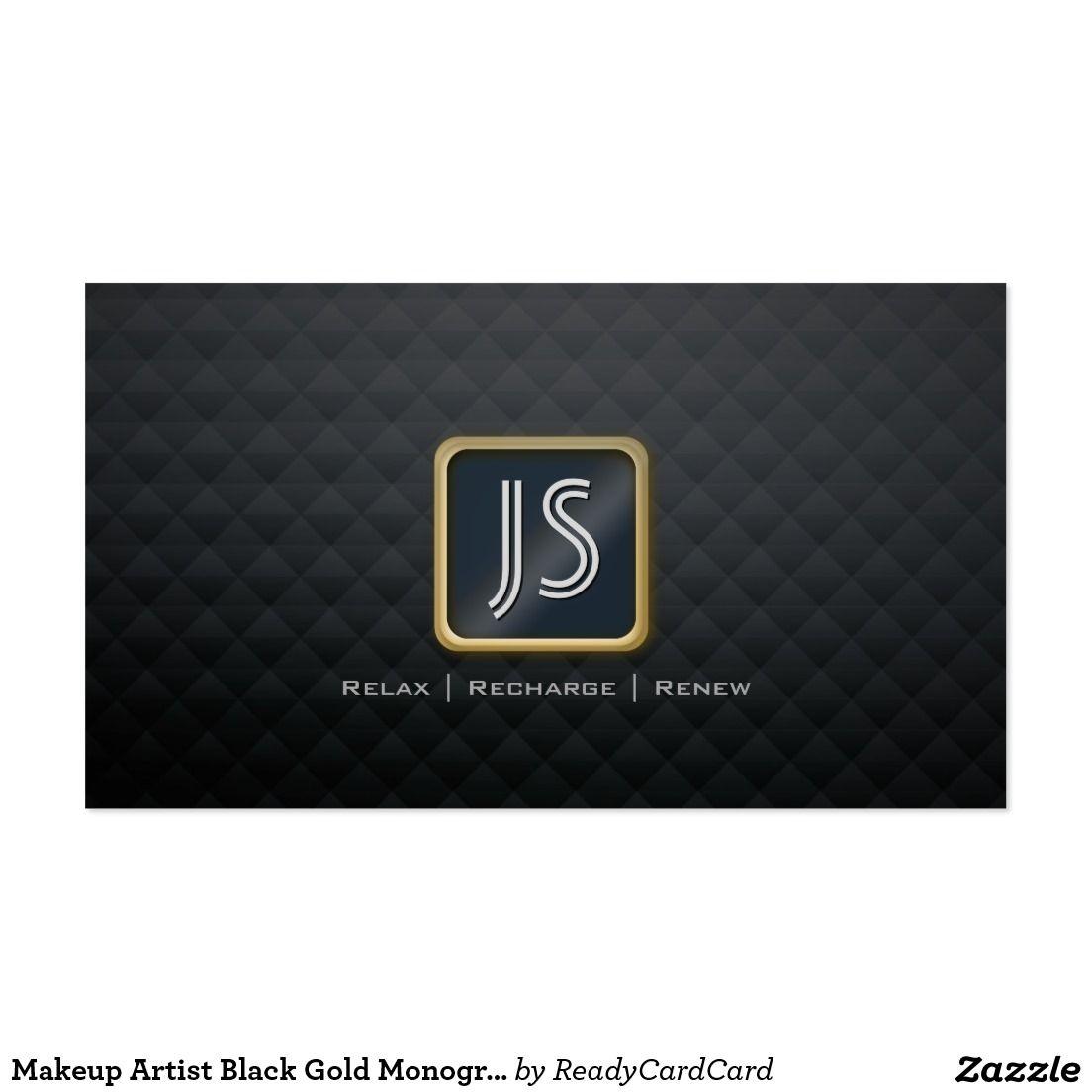 Makeup artist black gold monogram diamond pattern business card makeup artist black gold monogram diamond pattern business card magicingreecefo Choice Image