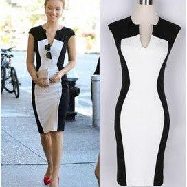 Vestido preto e branco curto e justo