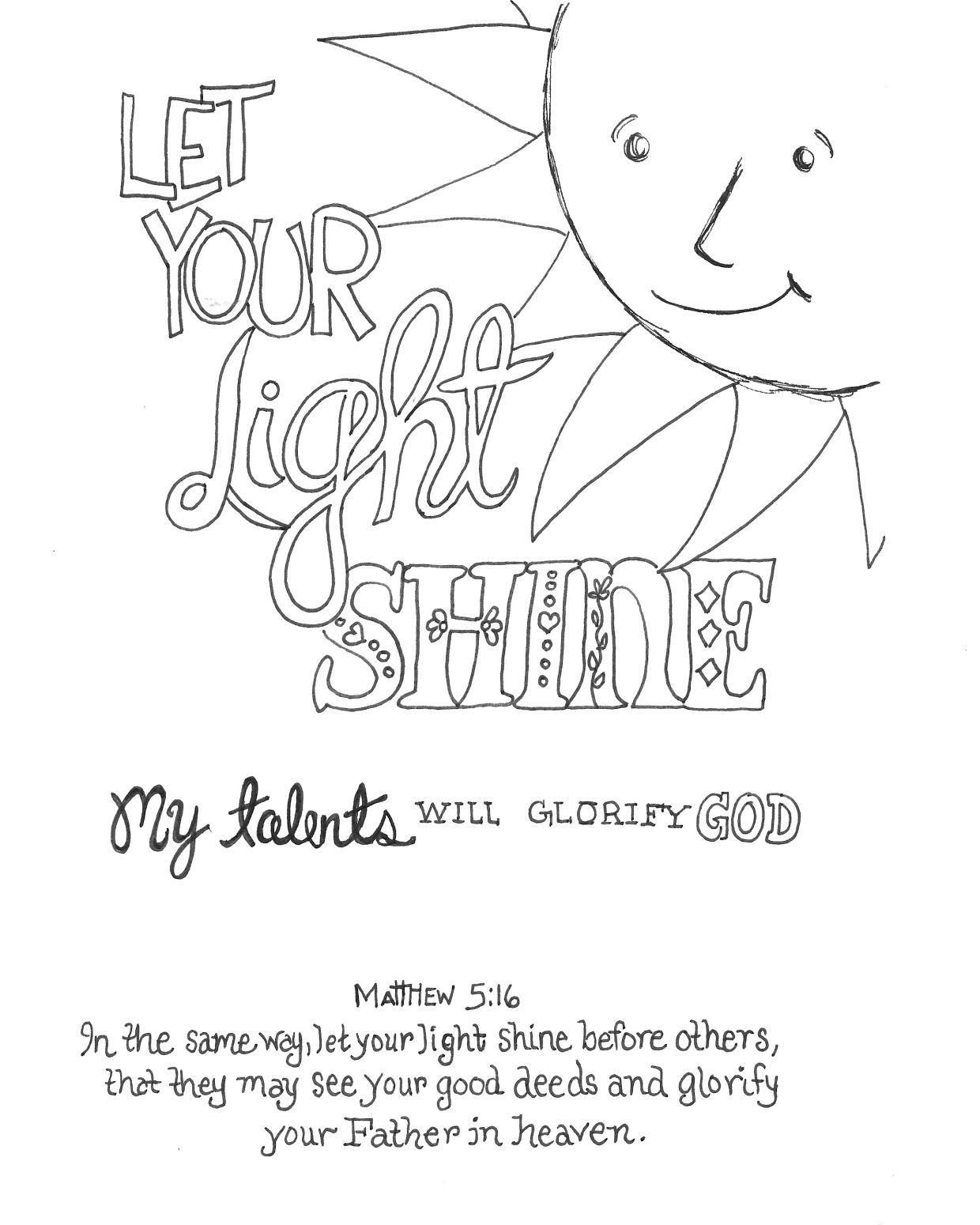 shine for jesus coloring pages | Let Your Light Shine - Coloring Page - SundaySchoolist
