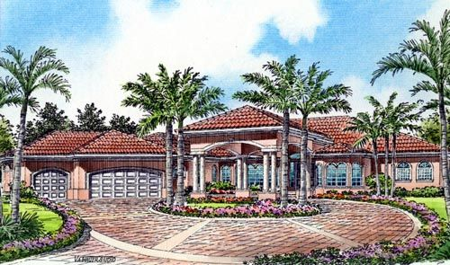 Florida Style House Plans   5084 Square Foot Home , 1 Story, 6 Bedroom And