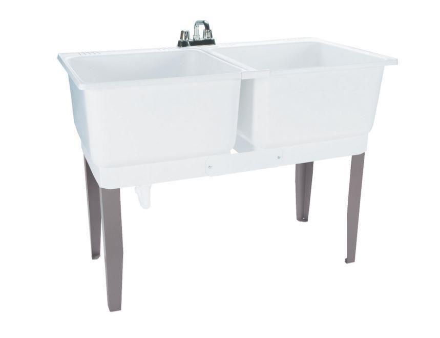 Double Basin Laundry Tub Freestanding Polypropylene Utility Sink Drain U0026  Faucet