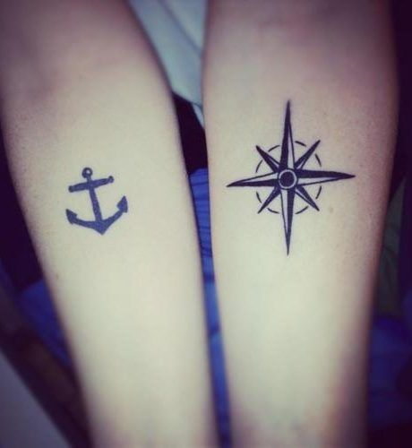 Awesome Matching Compass And Anchor Tattoo Ideas New Couple Tattoos