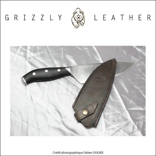 Etui pour couteau de cuisine leather work travail du for Etui couteau cuisine