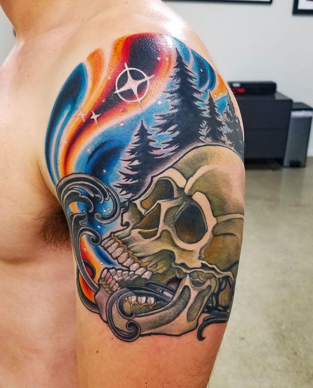 Death Under a Starry Night by Adam Sky Resolution Tattoo Studio San Francisco California