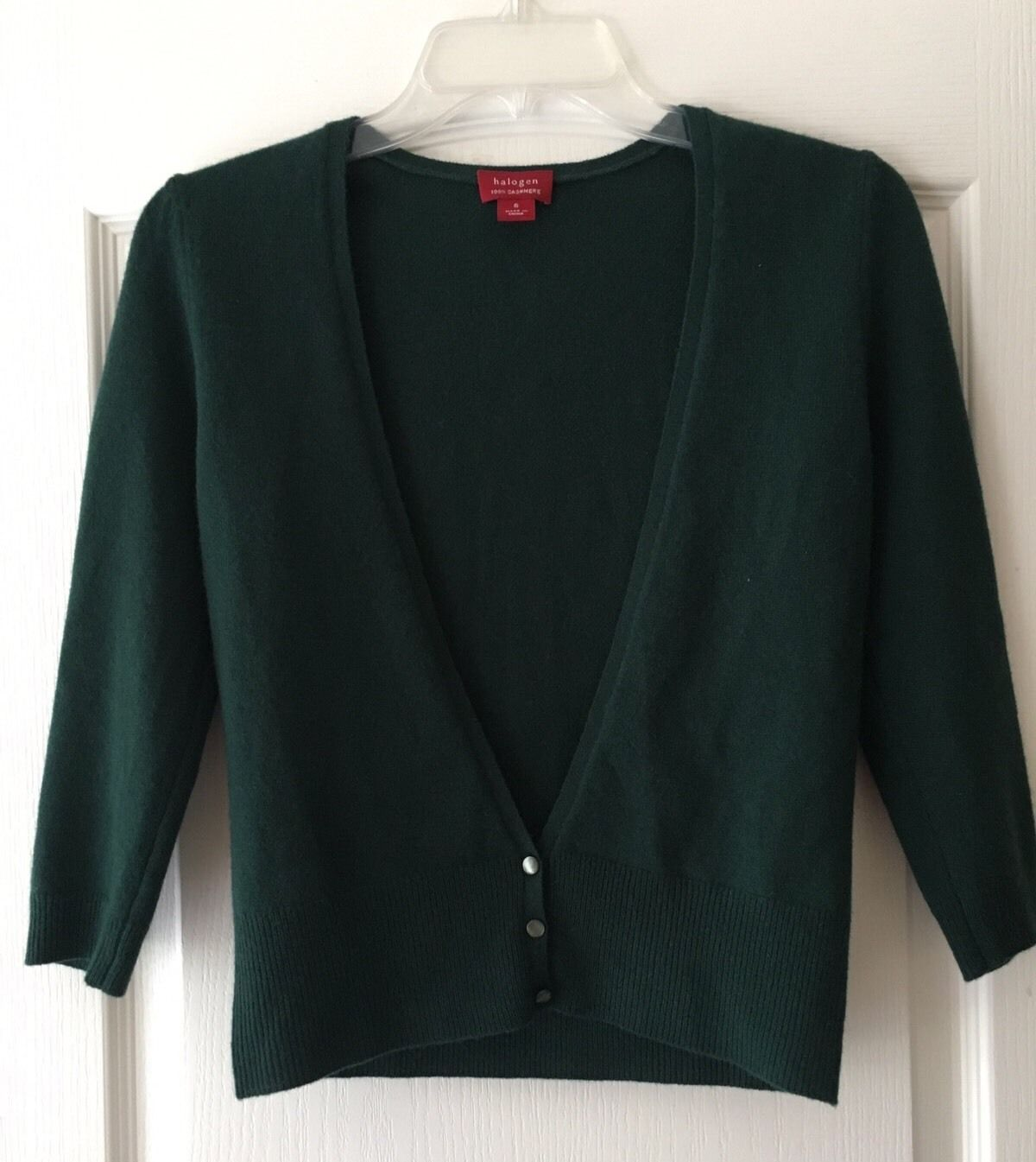 Halogen Dark Green 3/4 Sleeve Cardigan Sweater Sz S 100% Cashmere ...