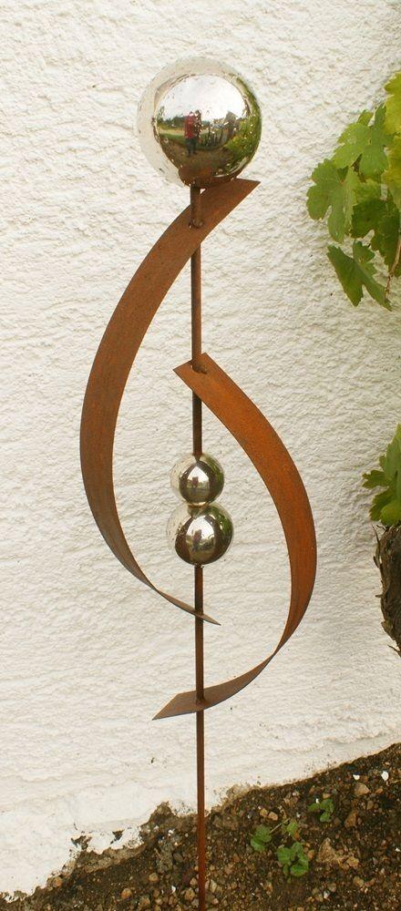 gartendeko rost skulptur 120 cm mit edelstahlkugel garten deko in, Garten ideen