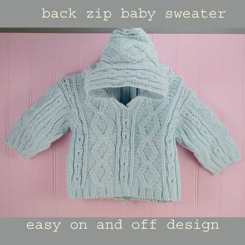 Classic Back Zip Hooded Baby Sweater from Purple Mountain - baby blue