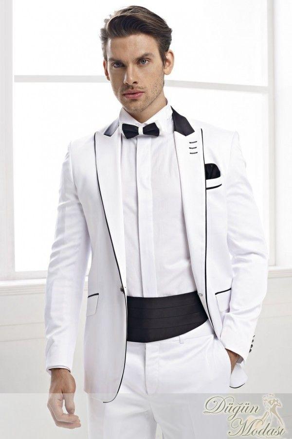 Ucuz Showersmile Takim Erkekler Beyaz Siyah 3 Adet Set Erkek Takim Elbise Ve Ceketler Blazer Pantolon Papyon Bahar Erkek Sahne Takim Elbise Elbise Pantolon