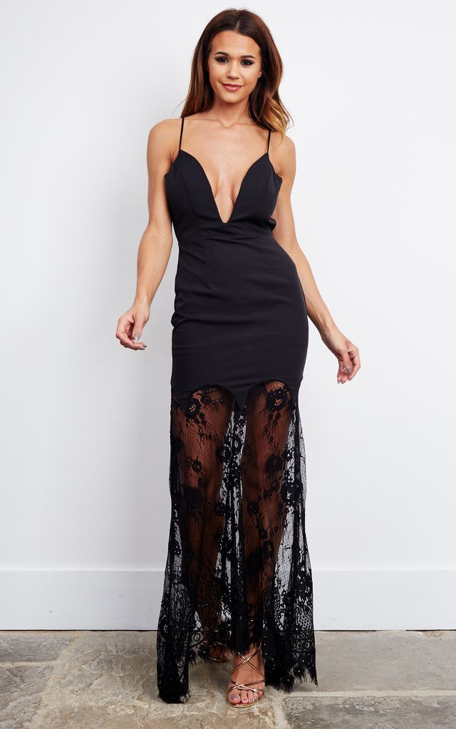 People are gushing over this beautiful gown! Open back and long lace trail; this black dress is just what you need for your next bash, you are sure to turn heads!