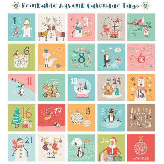 image regarding Printable Christmas Countdown Calendar titled Printable Arrival Calendar tag, Introduction calendar present tags