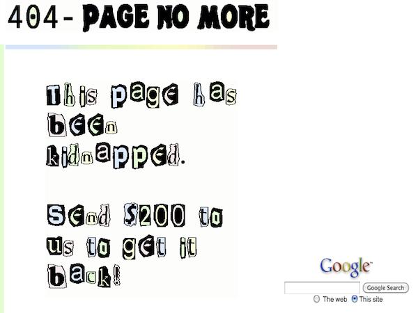 Le schermate di errore 404 più divertenti: La pagina è stata rapita