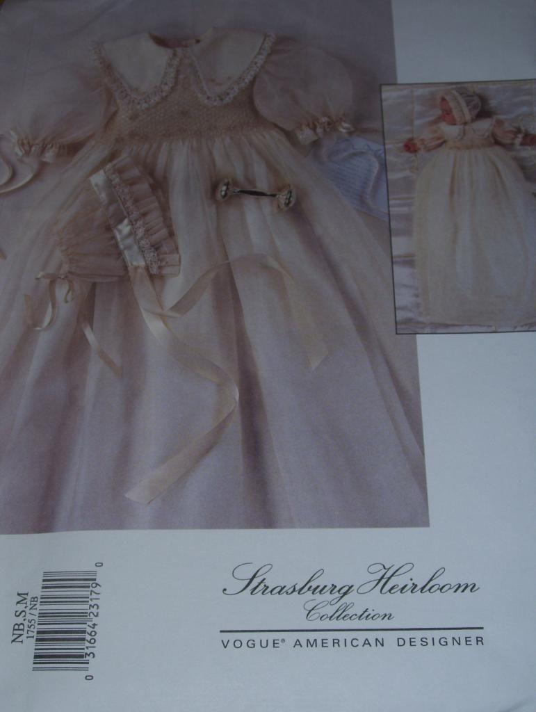 3e9d858922 Vogue 1755 Strasburg Heirloom Collection Infant Christening Pattern NB Xluc