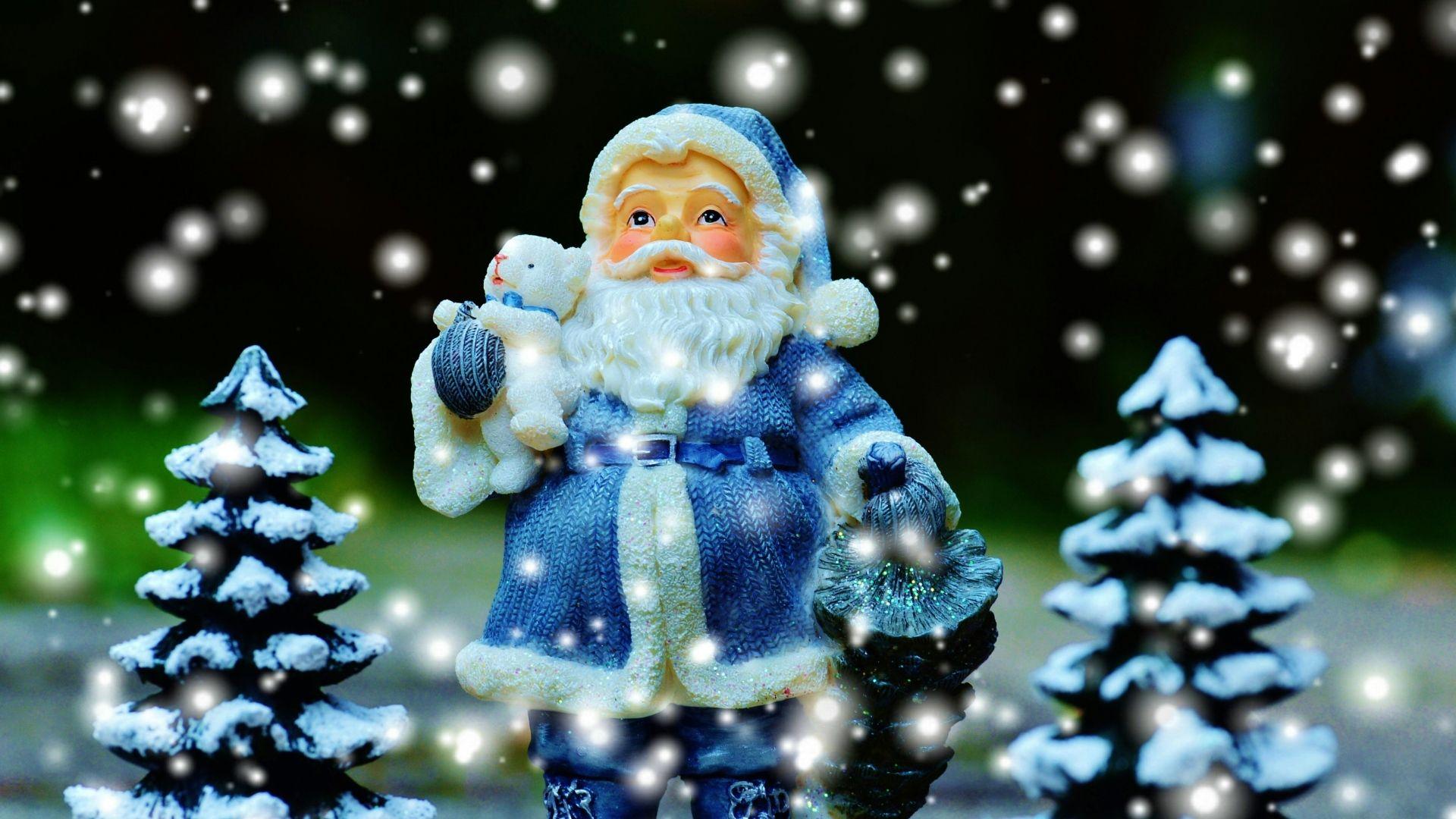 1920x1080 Wallpaper Santa Claus Christmas Trees New Year