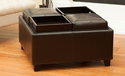 Espresso Bonded-Leather Tray Top Ottoman Only $190!
