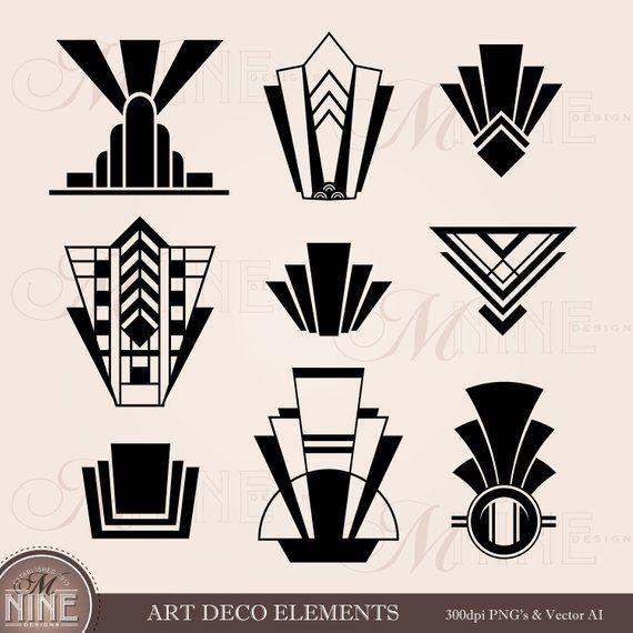 Art Deco Clip Art Art Deco Elements Clipart Downloads Etsy Art Deco Tattoo Art Deco Cards Art Deco Logo