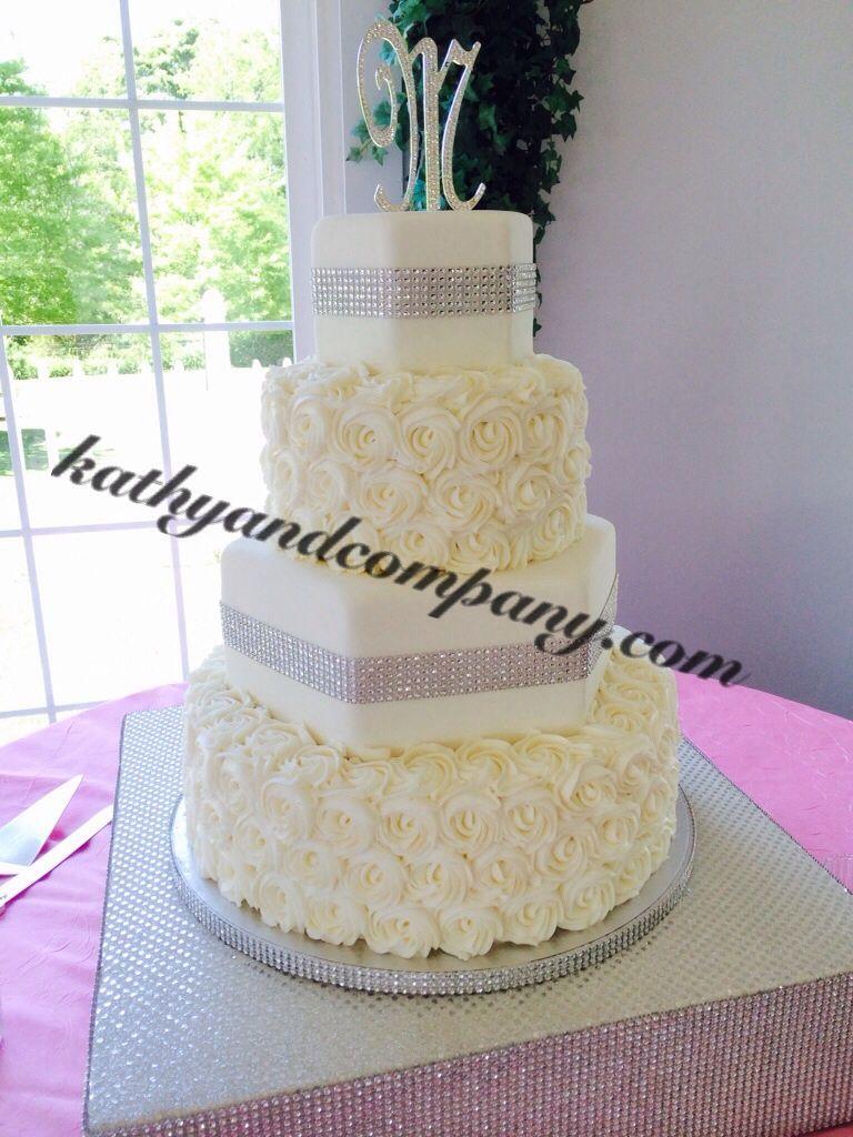 Bling wedding cake with piped buttercream rosettes | Bling Wedding ...