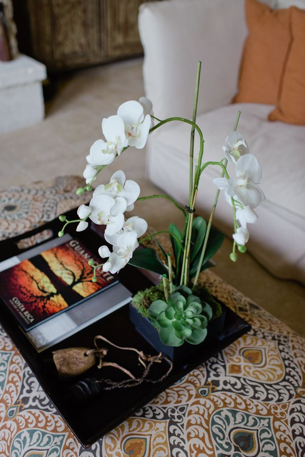 Tray On Ottoman With Faux Orchid Arrangement Silk Floral