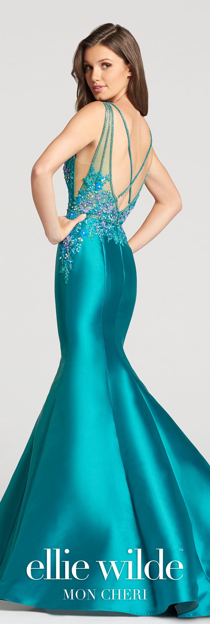 Mikado Mermaid Embroidered Lace Bodice Prom Dress- EW118176 ...