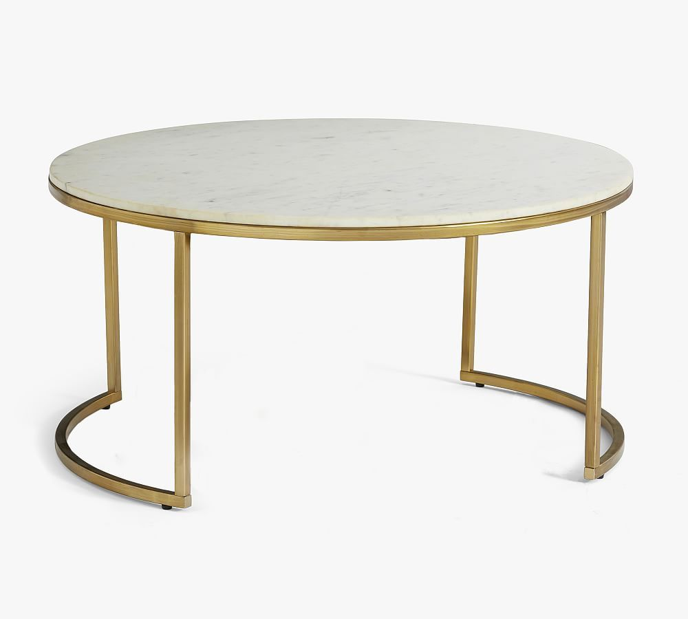 Delaney Round Marble Nesting Coffee Tables Marble Round Coffee Table Nesting Coffee Tables Coffee Table Pottery Barn [ 900 x 1000 Pixel ]