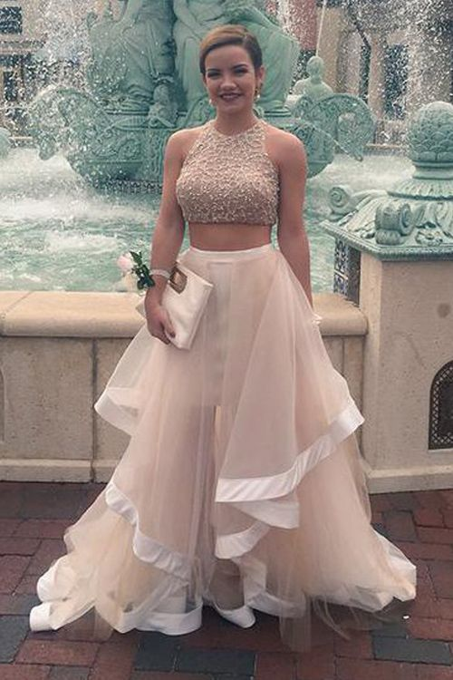 Fashion Two Piece Prom Evening Dress – Champagne Ankle-Length Tulle Sequins 38341ce70b7b