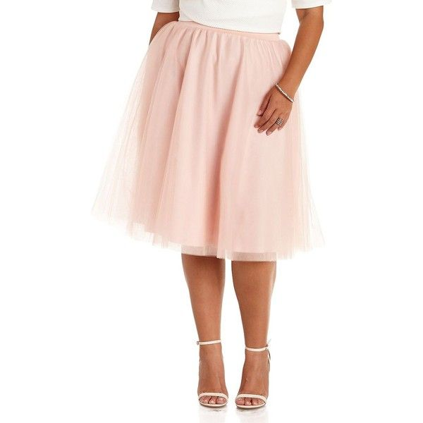 1f06034d86 Charlotte Russe Plus Size Pale Blush Tulle Full Midi Skirt by... ($30) ❤  liked on Polyvore featuring plus size fashion, plus size clothing, ...