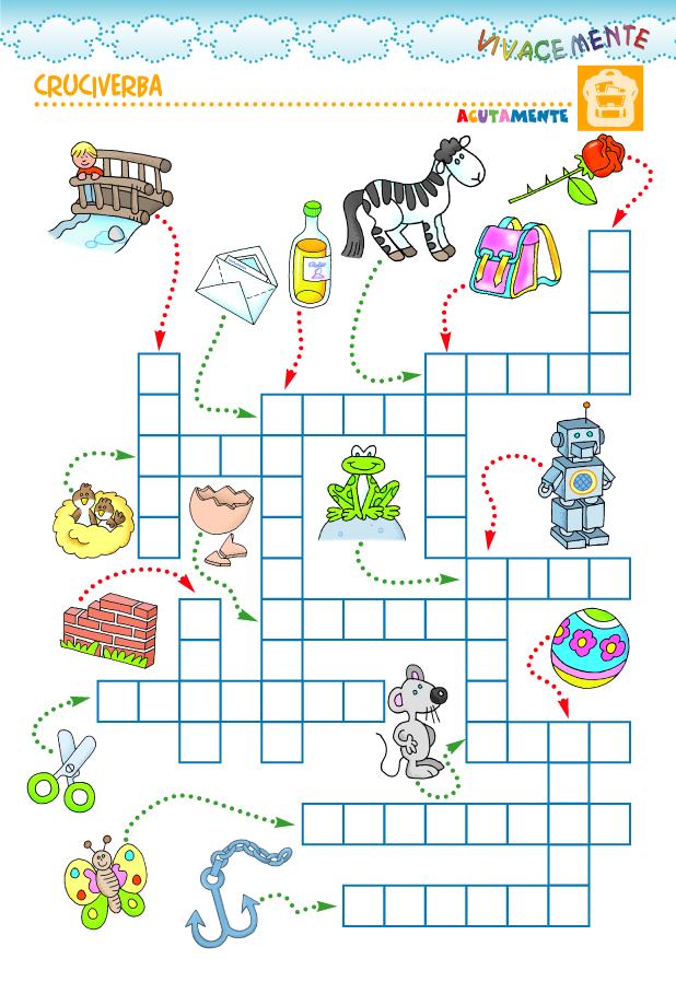 Pin tillagd av sara rigamonti p scuola italiano giochi for Cruciverba facili per bambini