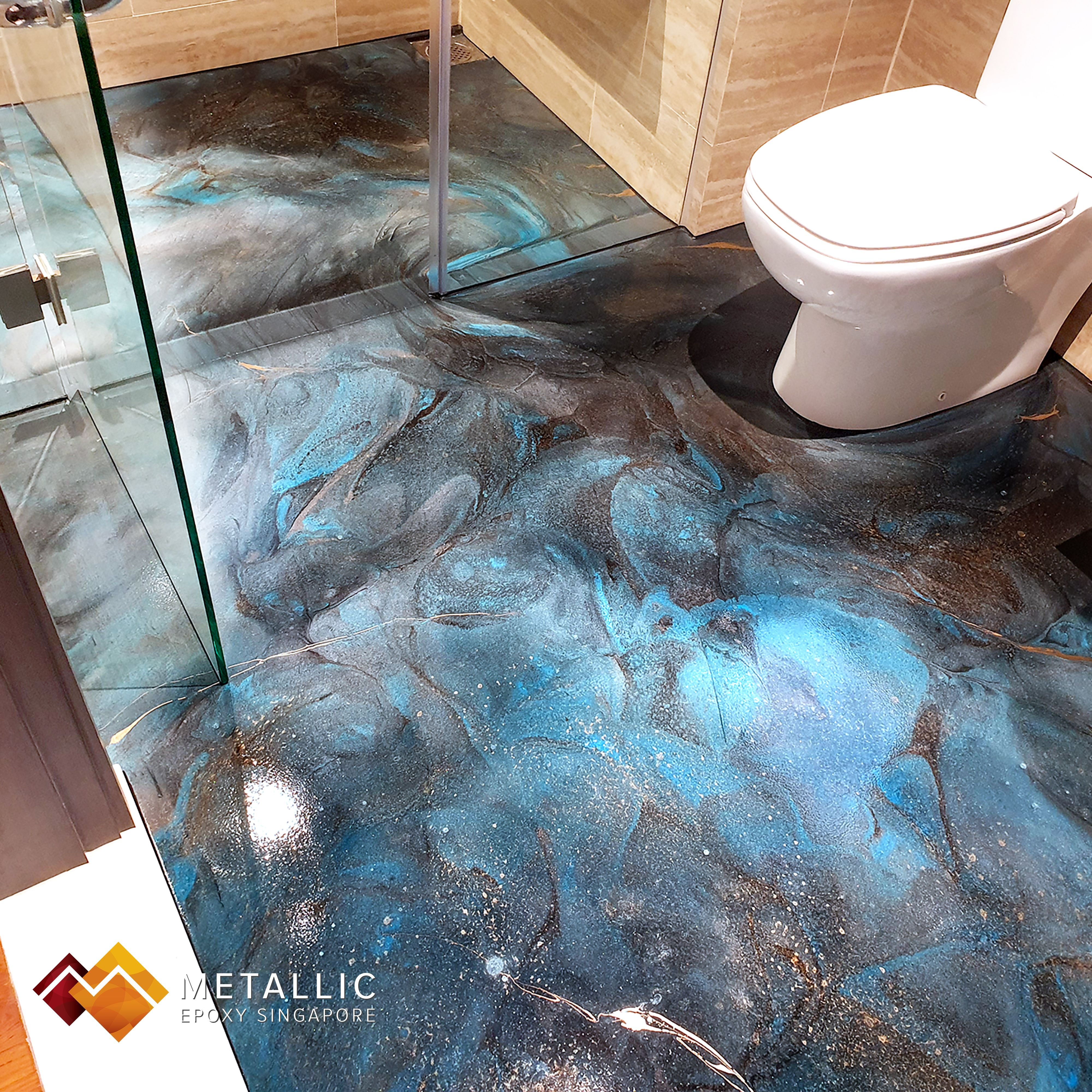 A Star Tacular Metallic Blue Galaxy Theme Design For This Ensuite Floor Coating Give This Small Space An Out Of This World Floor Coating Galaxy Theme Flooring