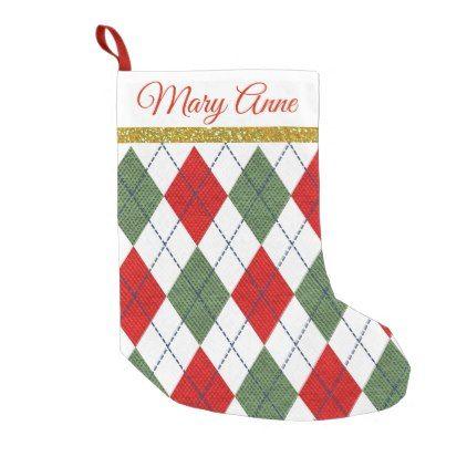 Red Green Plaid Argyle Christmas Stocking Name - christmas stockings ...
