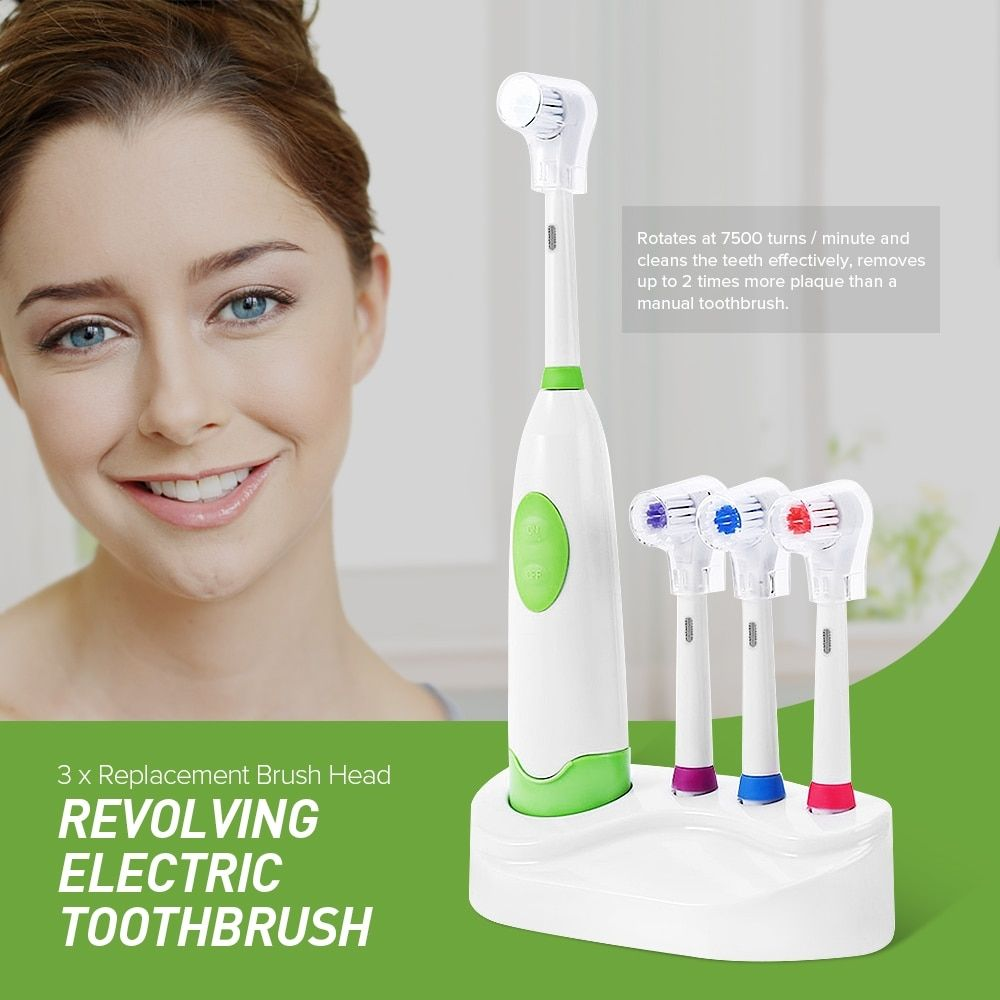 Waterproof Battery Operated Electric Toothbrush (3 Nozzles