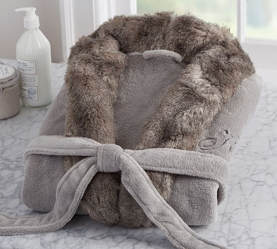 5d893200ad Faux Fur Robe Without Hood - Gray Chinchilla